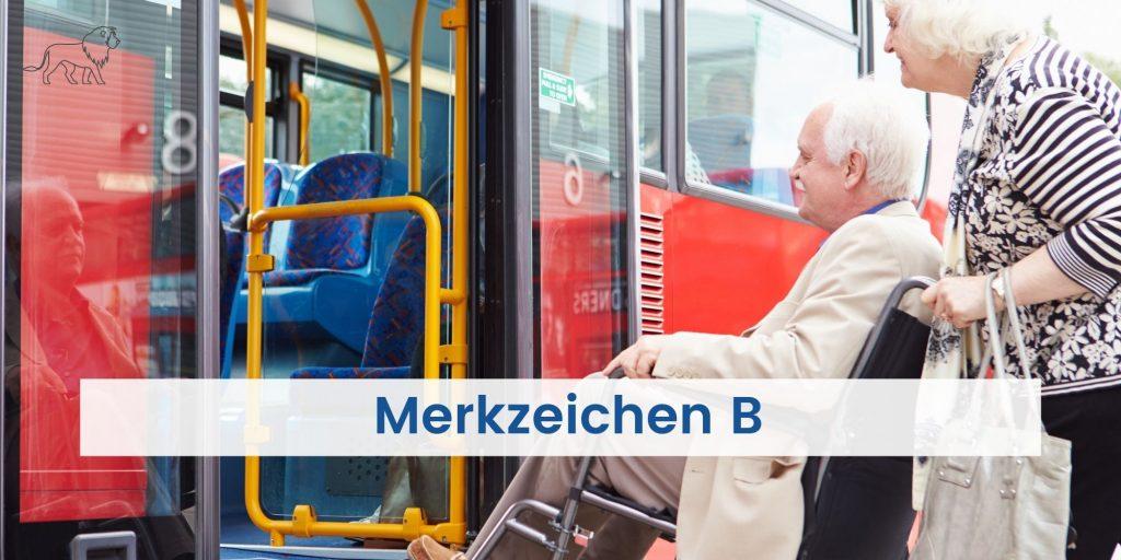 Person im Rollstuhl mit Begleitung beim Einstieg in Bus