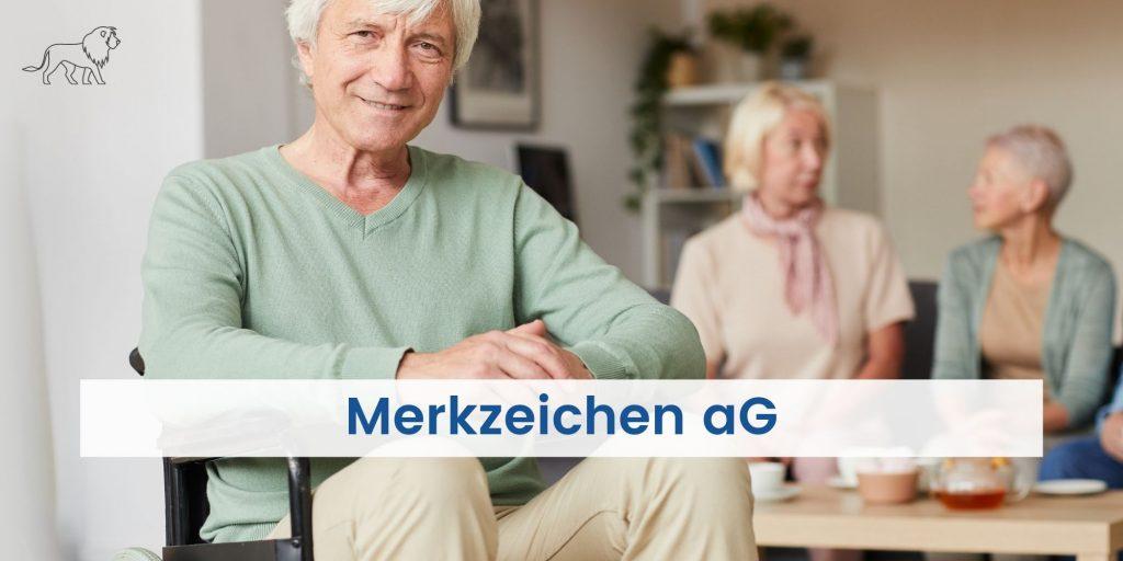 Mensch im Rollstuhl mit Merkzeichen aG im Schwerbehindertenausweis