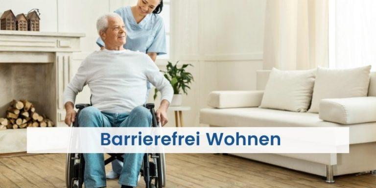 Mensch im Rollstuhl kann barrierefrei leben in seiner barrierefreien Wohnung