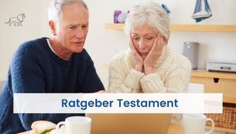 Paar informiert sich auf Senioren Nachrichten über das Thema Testament verfassen